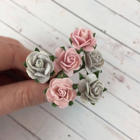 Flower Hair Pins in Pretty Pinks and Gray for by MonicaRudyJewelry