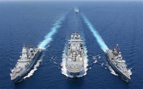 Vessel warships formation blue sea refueling marine