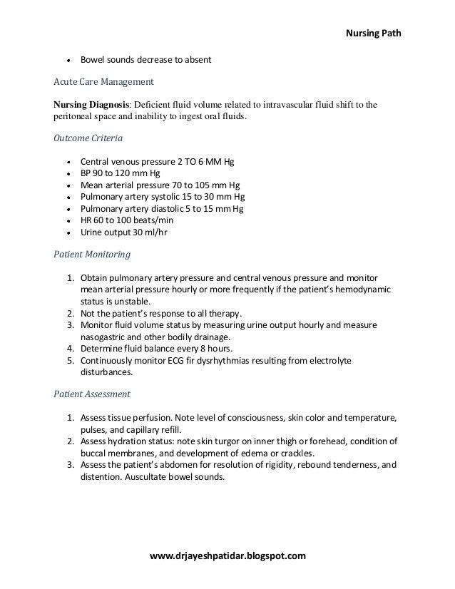 Acute peritonitis nursing care plan & management