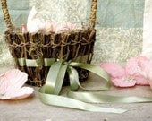 Moss & Twigs Flower Girl Basket with Sage green satin ribbon - 1 basket - marrymerosie
