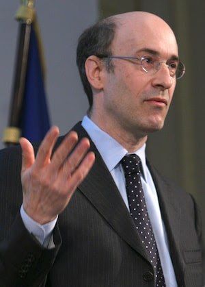 FILE - In this March 7, 2008 file photo, Kenneth Rogoff, Professor of Economics and Public Policy at Harvard, delivers a speech at the International Symposium of the Banque de France, in Paris.(AP Photo/Jacques Brinon, file)