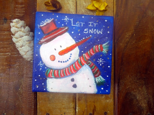 Sale  Christmas Snow man giftchildren room by WatercolourbyCharu