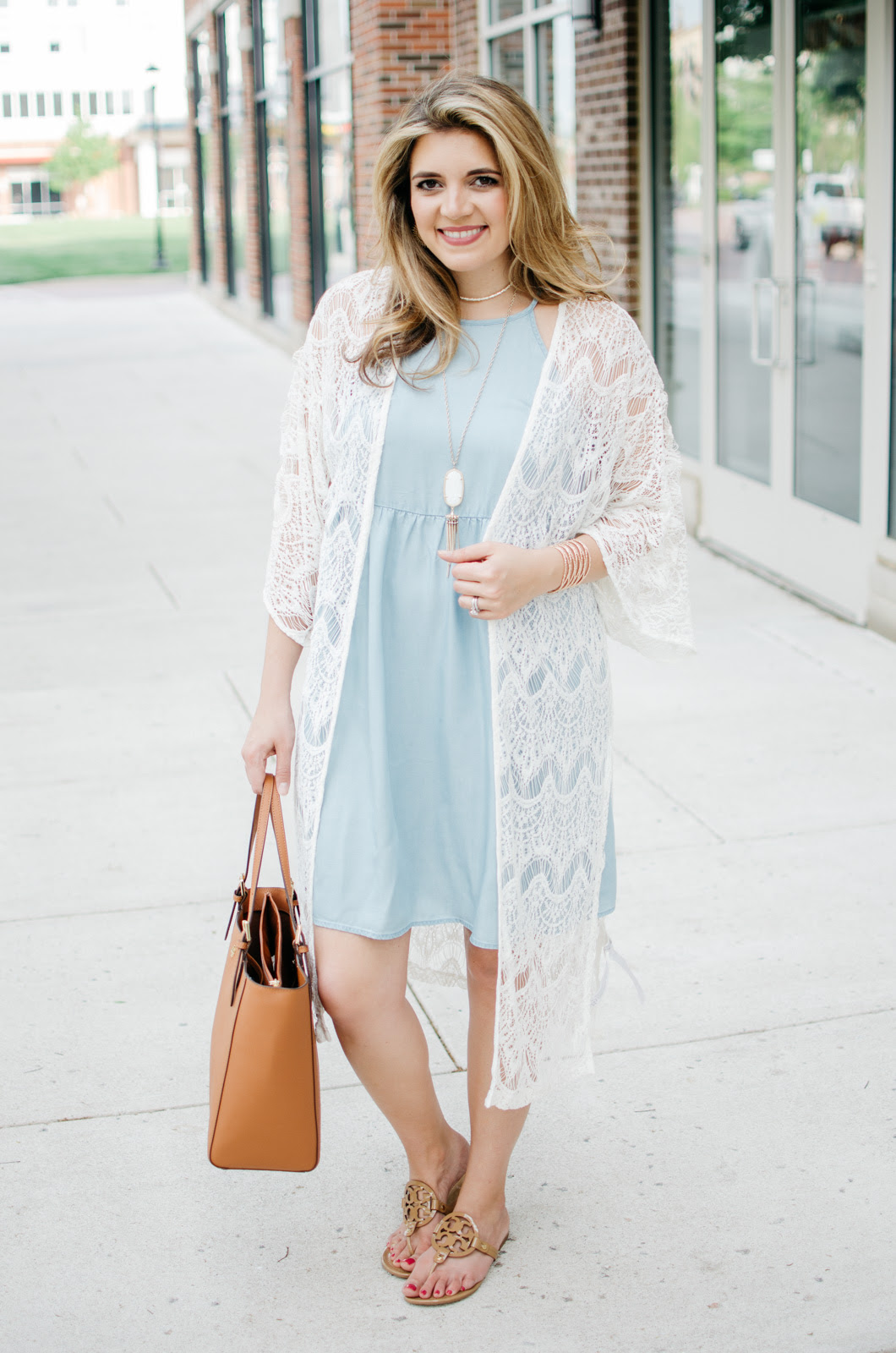 chambray dress with a long lace kimono lauren m