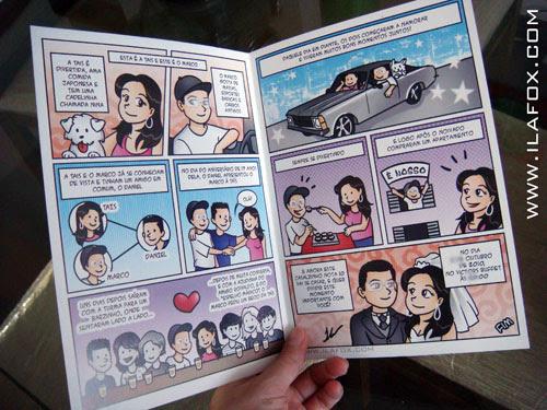 convite em história em quadrinhos para casamento, história noivinhos, by ila fox