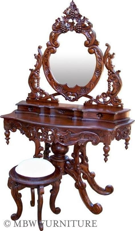 Custom Made Solid Mahogany French Mirror Vanity Dressing