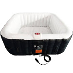 Aleko HTISQ6BKWH Square Inflatable Hot Tub Spa with Cover 6 Person 250 Gallon Black and White