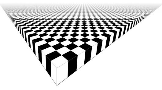 Draw an infinite chessboard in perspective, using straightedge only