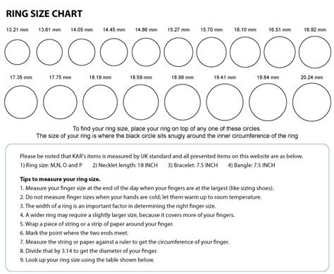 unisex ring size chart laus accessories