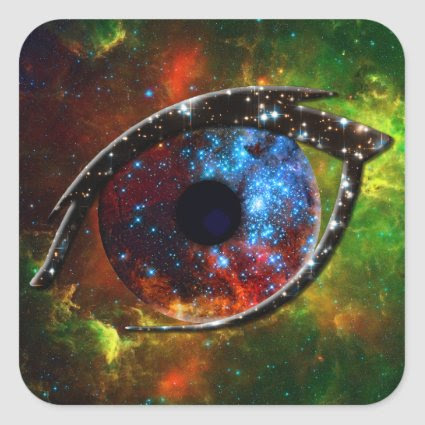 Eye - Stellar Nursery R136 on nebula background Square Sticker