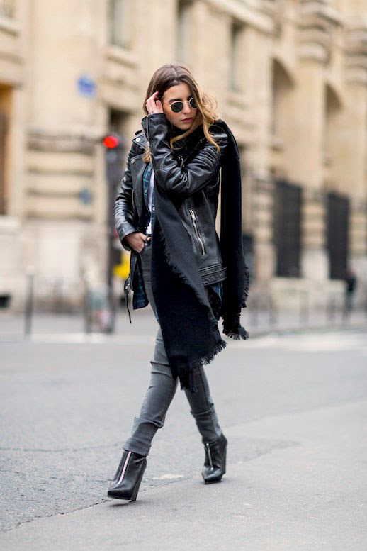 Le Fashion Blog Blogger Winter Style Leather Jacket Oversized Scarf Plaid Shirt Grey Skinny Jeans Zip Front Ankle Boots Via Sarah Nait