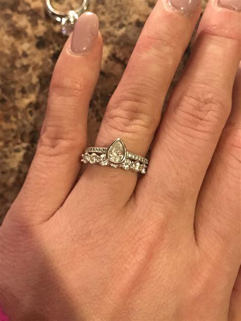 Large stone wedding band with small er stone e ring