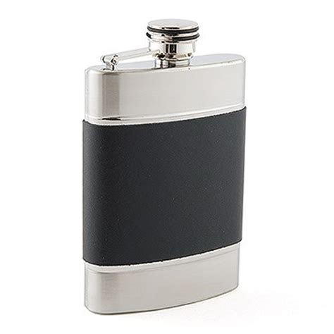 Black and Silver Stainless Steel Hip Flask   Weddingstar