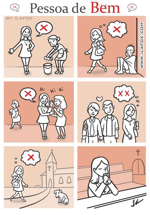 Pessoa de Bem, quadrinhos, hipocrisia da religião, religião e caráter, by ila fox