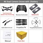 Visuo XS816 RC Drone with 50 Times Zoom WiFi FPV 4K Dual Camera Optical Flow Quadcopter Foldable Selfie Dron VS SG106 M70 Set11 4K 2BAT FB / CHINA