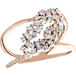 14K Rose Gold Baguette Diamond Prong Set Bypass Twisted Cocktail Ring 0.37 Ct.