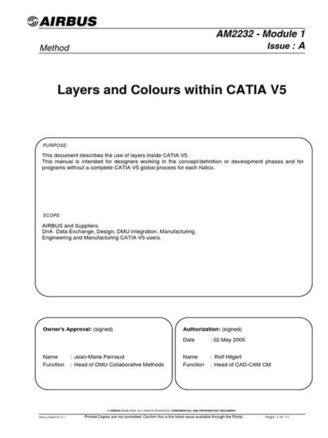 Layers and Colours within CATIA V5: Method