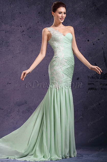 eDressit New Adorable One Shoulder & Sweetheart Light Green Evening Dress Prom Gown