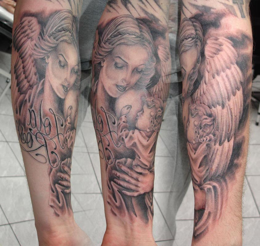 Mother And Her Son Angel Tattoo