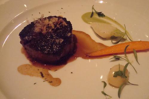 Hangar steak with sesame glaze and bonito flakes