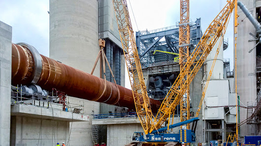 A Saren's Liebherr LR 1350/1 Crawler Crane lifts five components of new rotary kiln for HeidelbergCement AG – Machine.Market Minutes