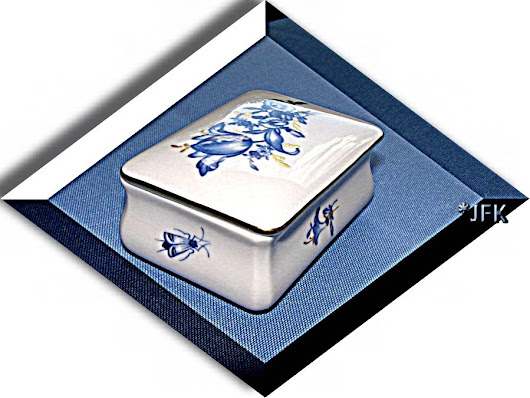 Meissen China Trinket Stamp Box Lid Blue White Gold Vintage