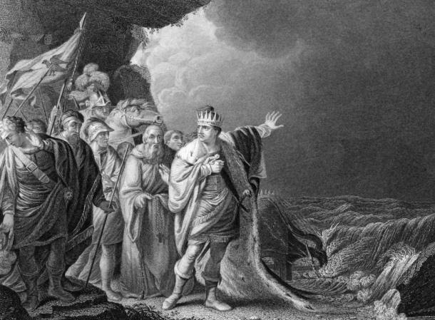 """Canute Reproving His Courtiers,"" an etching by R.E. Pine, depicts a legend told about Canute that says he thought he could stop the tide from rising, but when he could not he hung his crown on a crucifix and never wore it again."