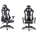 Costway High Back Executive Racing Reclining Gaming Chair Swivel PU Leather Office Chair White