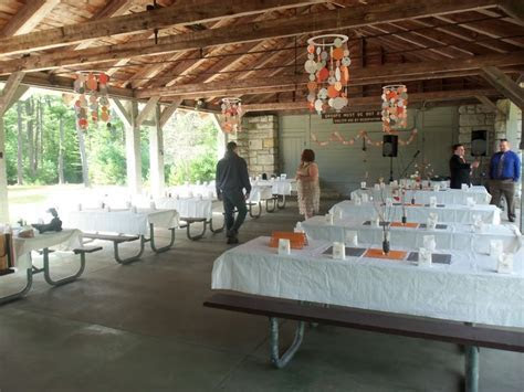 decorating a pavilion for a wedding reception   They