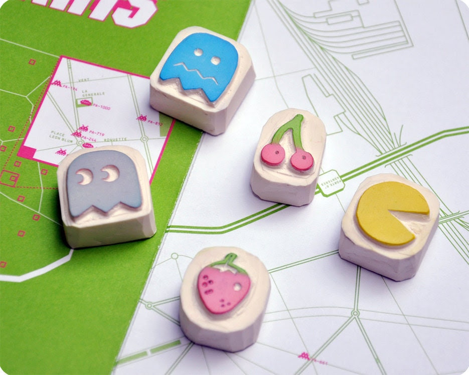 Pacman hand carved stamp set of 5