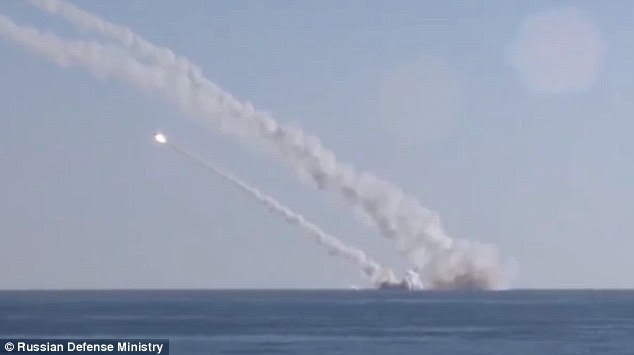 Some of the missiles launched by the Russians are believed to be able to travel up to 1,500 miles as the country targets rebels as well as ISIS militants in the ongoing civil war