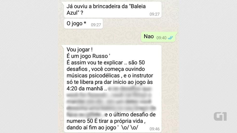 Mensagens trocadas por alunos de escola da zona sul de João Pessoa no WhatsApp explicam como funciona o jogo (Foto: Arnaldo Sobrinho/PMPB/Reprodução/Whatsapp)