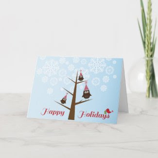 Happy Holidays {owls} Greeting Card