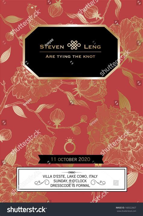 Floral Chinese Wedding Card Template Vectorillustration