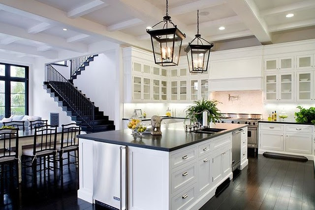 meridith baer spanish style house home kitchen white cabinetry