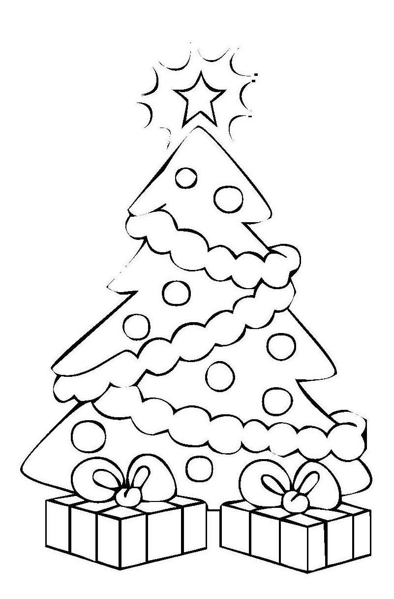 Ausmalbild Weihnachten Weihnachtsbaum mit Geschenken kostenlos ausdrucken