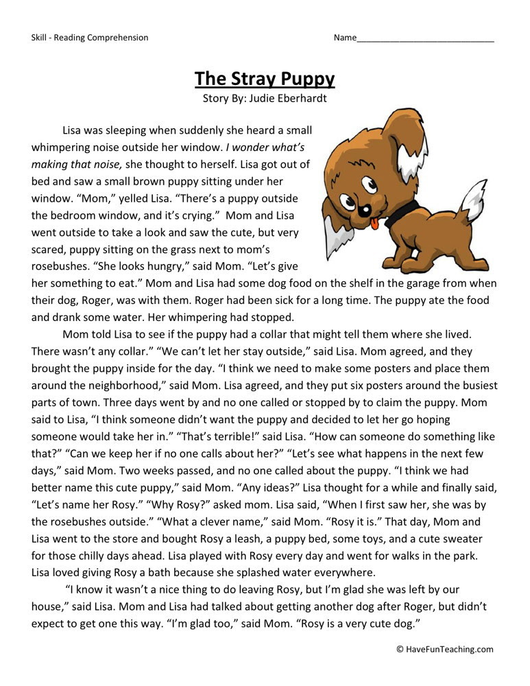 Reading Prehension Worksheet The Stray Puppy