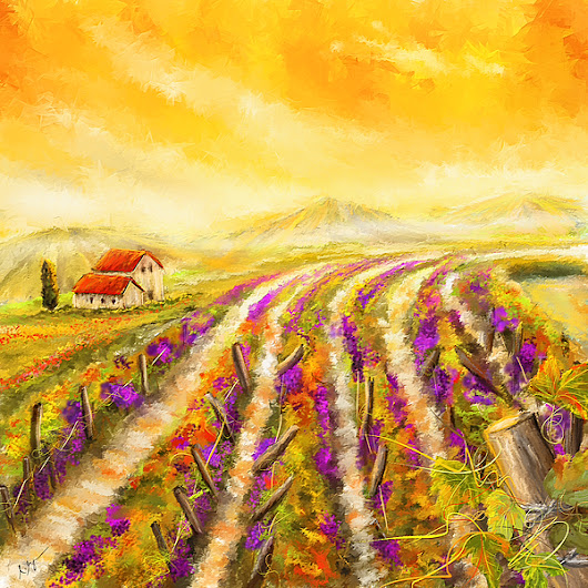 Tuscan Vineyard Sunset - Vineyard Impressionist Paintings by Lourry Legarde
