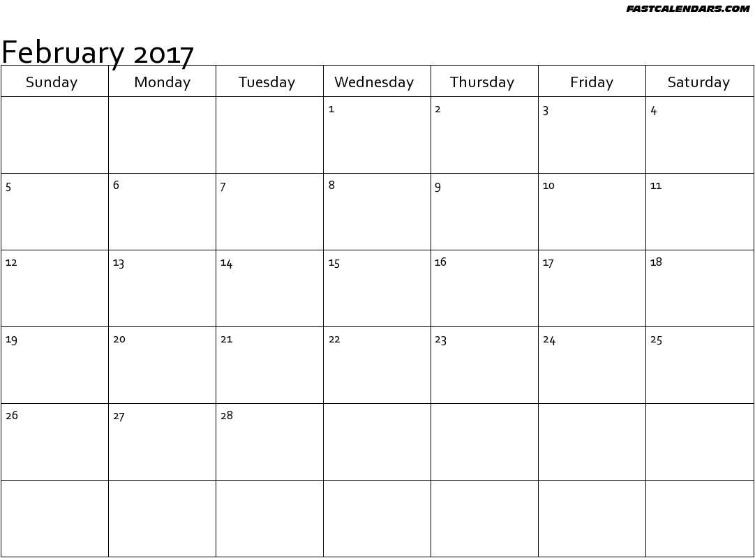Blank February 2017 Calendar Templates
