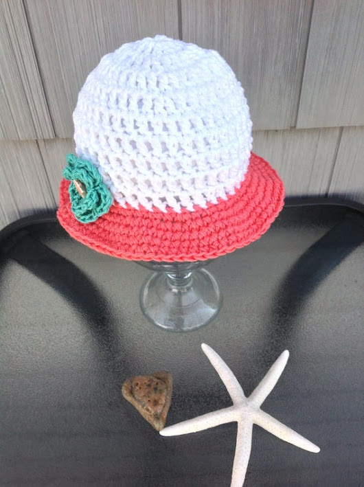 Hand Crocheted Brimmed Cotton Sun Hat  for baby size 3-6