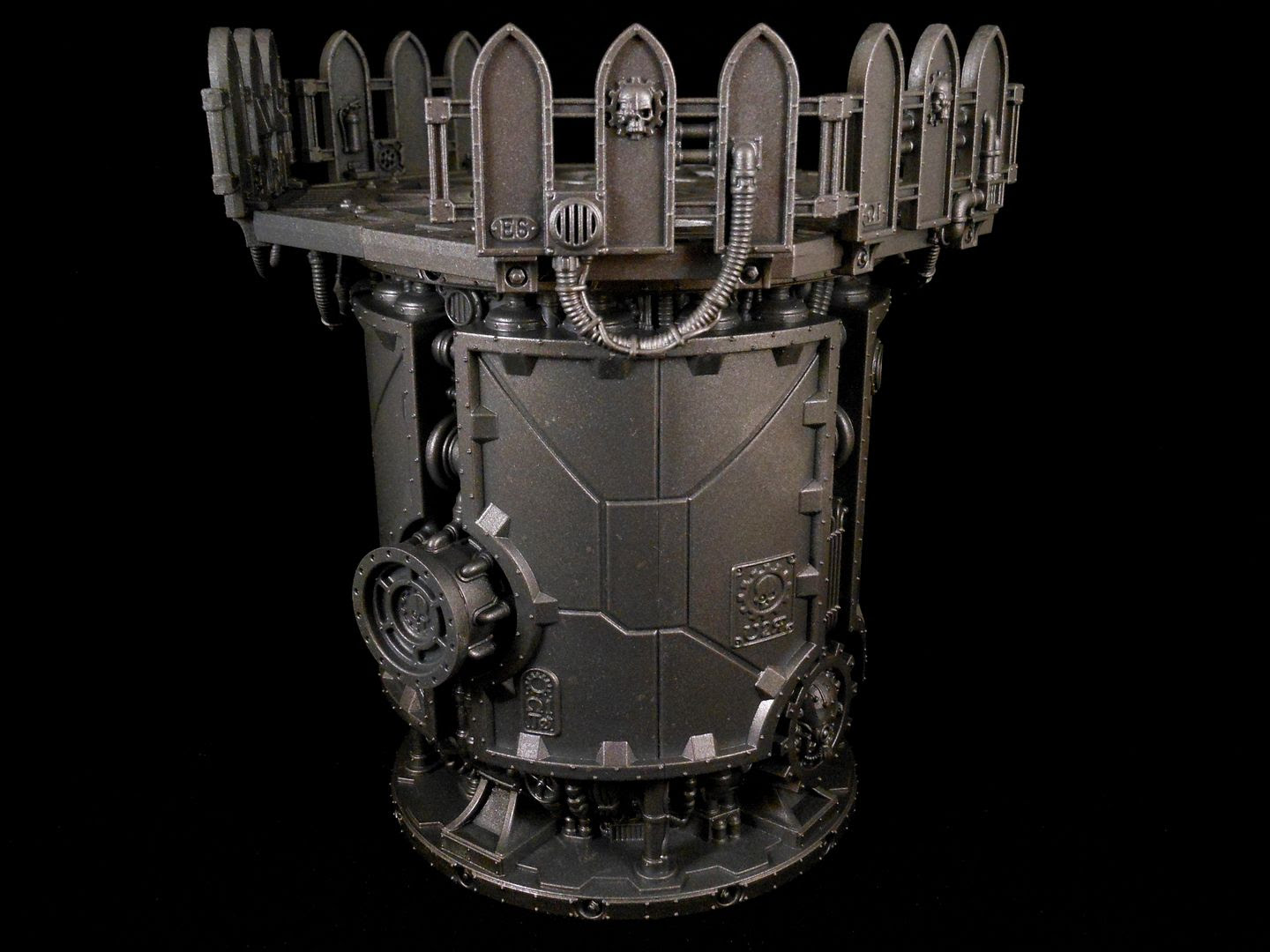 A silo with observation platform from the Shadow War: Armageddon scenery range.