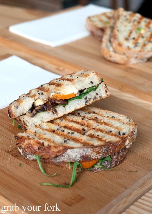 roast vegetable and goats cheese toasted sandwich