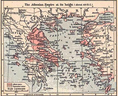 Map Of Xerxes Empire. Map of the Athenian empire