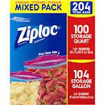 Ziploc Storage Bags, Gallon & Quart Variety Pack, 204 CT, Clear