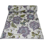 Queen Cotton Kantha Quilt Floral Print Indian Quilt