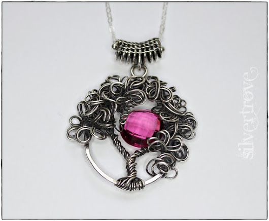 Tree of Life 'Blood Moon' Pendant Necklace Sterling by SilverTrove