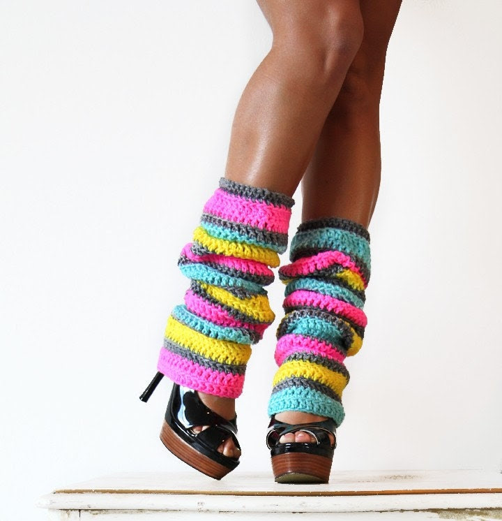 80s Party Leg Warmers in Neon Stripes