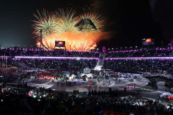The closing ceremony for the 2018 Winter Games is held inside inside the Pyeongchang Olympic Stadium in South Korea...on February 25, 2018.
