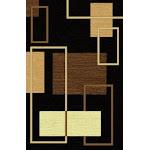 "Geometric Lines Modern Brown and Beige Classic Area Rug 5'4"" x 7'5"" / Black"