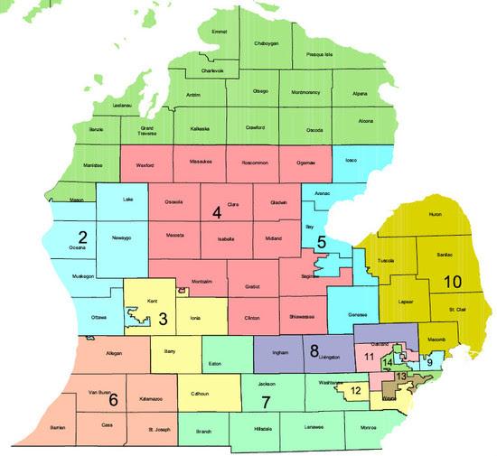 Us House Of Representatives District Map Michigan