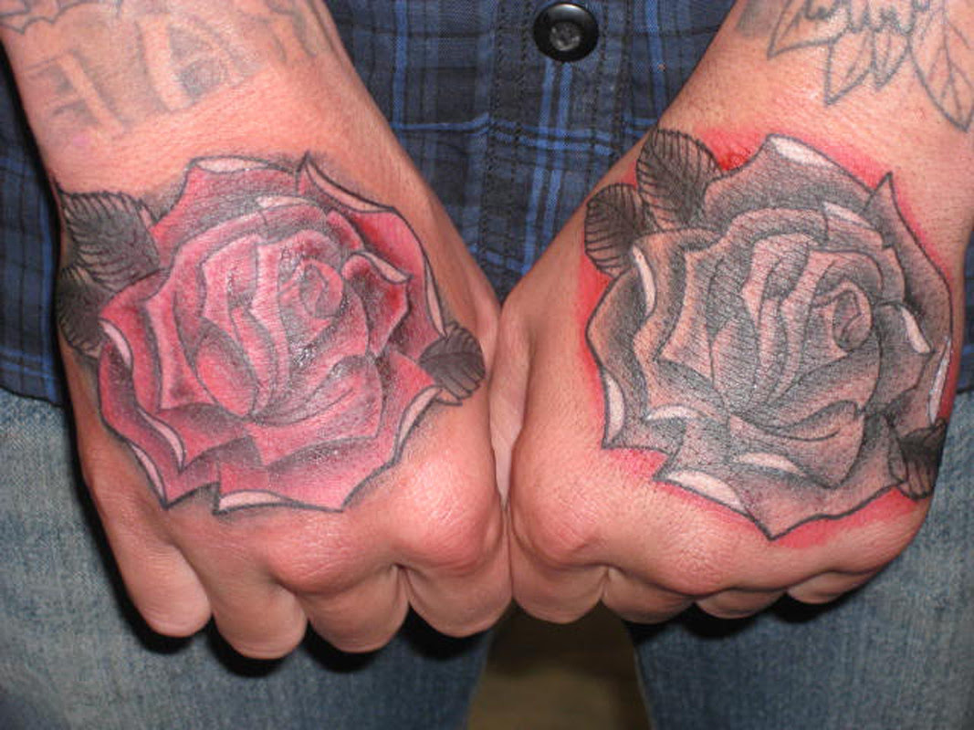 Grey And Red Rose Flowers Hand Tattoos